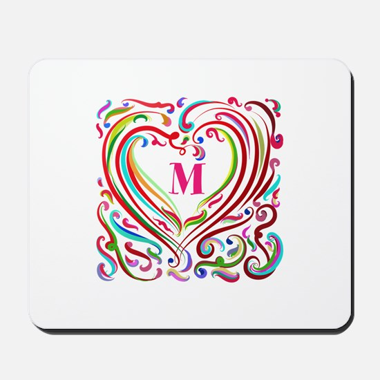 Monogrammed Art Heart Mousepad