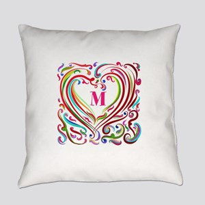 Monogrammed Art Heart Everyday Pillow