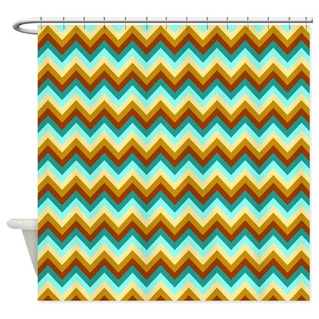 Blue And Brown Chevrons Shower Curtain By Laughoutlouddesigns1