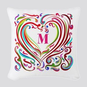 Monogrammed Art Heart Woven Throw Pillow