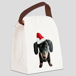 Dachshund_Xmas_001 Canvas Lunch Bag