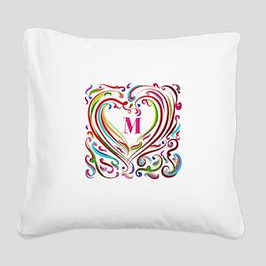 Monogrammed Art Heart Square Canvas Pillow