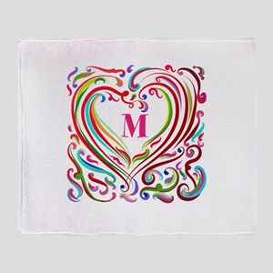 Monogrammed Art Heart Throw Blanket