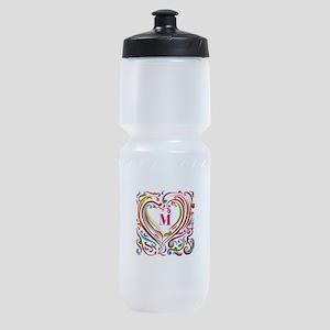 Monogrammed Art Heart Sports Bottle