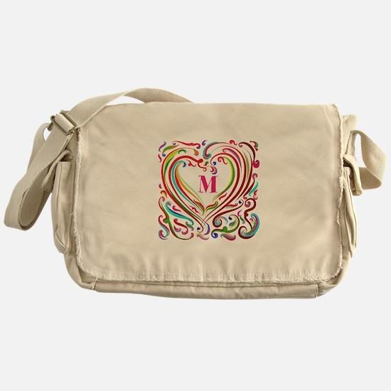 Monogrammed Art Heart Messenger Bag