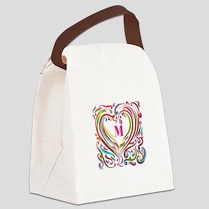 Monogrammed Art Heart Canvas Lunch Bag