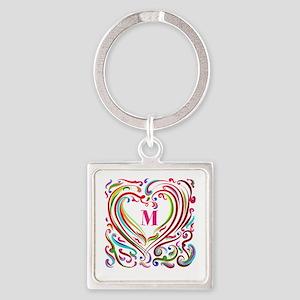 Monogrammed Art Heart Keychains