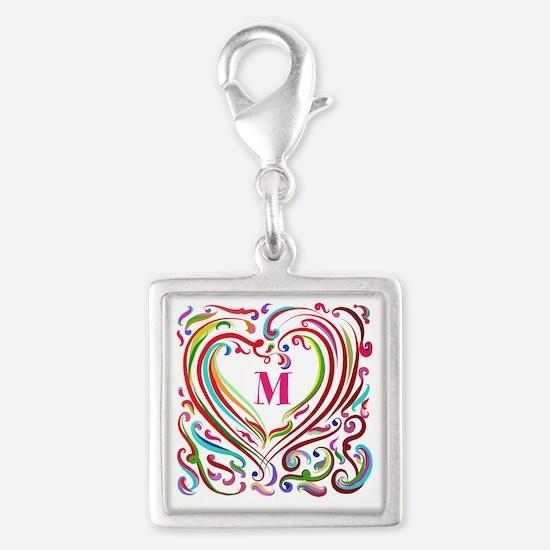 Monogrammed Art Heart Charms