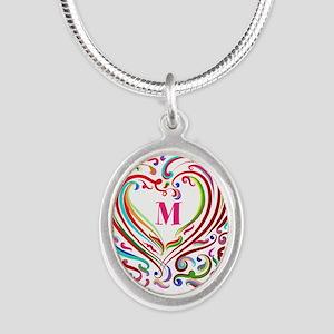 Monogrammed Art Heart Necklaces