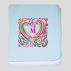 Monogrammed Art Heart baby blanket