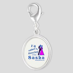 Dancing With Sasha Silver Oval Charm