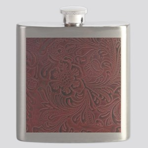 Red Embossed Leather-look Flask