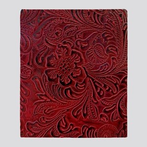 Red Embossed Leather-look Throw Blanket