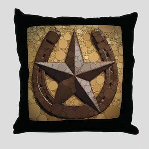 western country horseshoe texas star  Throw Pillow