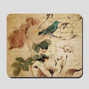 retro vintage rose teal bird botanical a Mousepad