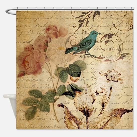 retro vintage rose teal bird botani Shower Curtain