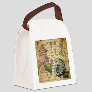 vintage purple lilac seashell bot Canvas Lunch Bag