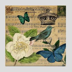 vintage music notes butterfly bird fl Tile Coaster