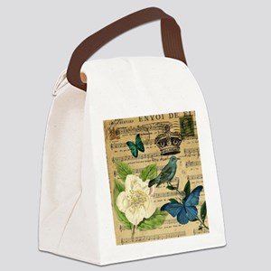 vintage music notes butterfly bir Canvas Lunch Bag