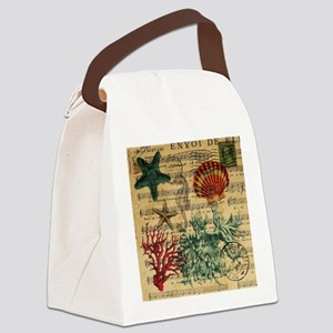 vintage ocean beach seashells fas Canvas Lunch Bag