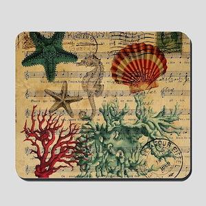 vintage ocean beach seashells fashion  Mousepad