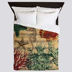 vintage ocean beach seashells fashion  Queen Duvet