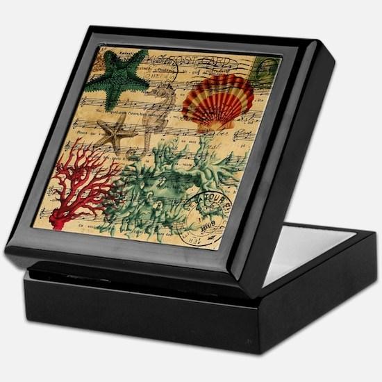 vintage ocean beach seashells fashion Keepsake Box