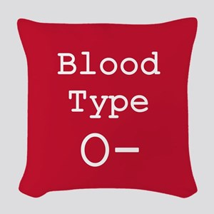 Blood Type O- Woven Throw Pillow