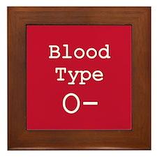 Blood Type O- Framed Tile
