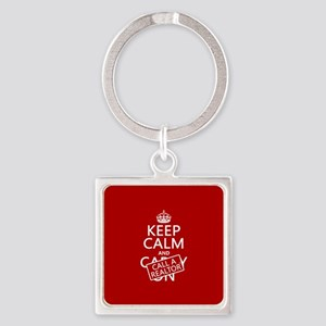 Keep Calm and Call A Realtor Square Keychain
