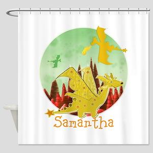Cute Dragon with custom Name Shower Curtain