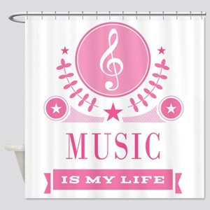 Music Is My Life Vintage Shower Curtain