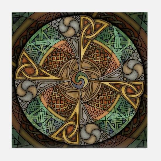 Celtic Aperture Mandala Tile Coaster