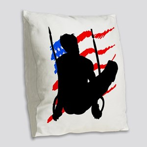 SUPER STAR GYMNAST Burlap Throw Pillow
