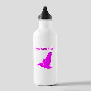 Custom Pink Pelican Silhouette Sports Water Bottle