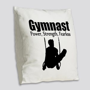 POWER GYMNAST Burlap Throw Pillow