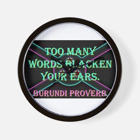 Too Many Words - Burundi Proverb Wall Clock