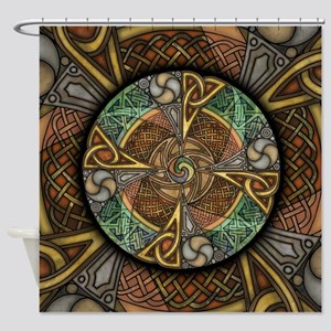 Celtic Aperture Mandala Shower Curtain