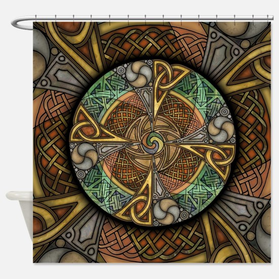 Celtic Aperture Mandala Shower Curtain