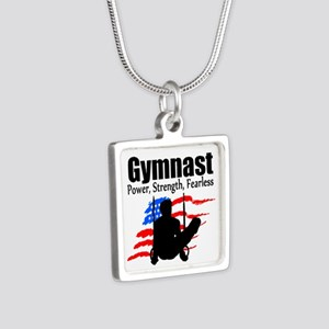 CHAMPION GYMNAST Silver Square Necklace