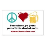 Peace, Love & Beer Sticker (Rectangle)