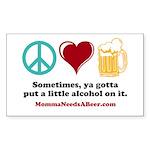 Peace, Love & Beer Sticker (Rectangle 10 pk)