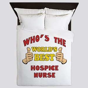 World's Best Hospice Nurse (Thumbs Up) Queen Duvet