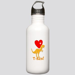 Cute Orange T-Rex Love Hearts with Name Water Bott