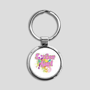 Soccer Girl Round Keychain