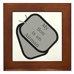 My Son is an Airman dog tag Framed Tile