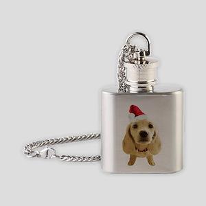 Dachshund_Xmas_004b Flask Necklace