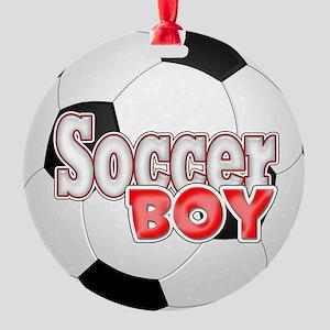 Soccer Boy Round Ornament