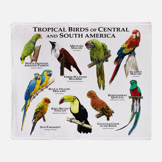 Tropical Birds of Central and South America Throw