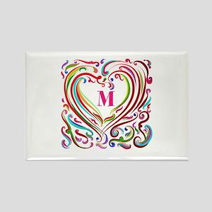 Monogrammed Art Heart Magnets